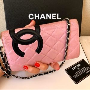 CHANEL Cambon CC Logo Long Wallet with Chain Auth